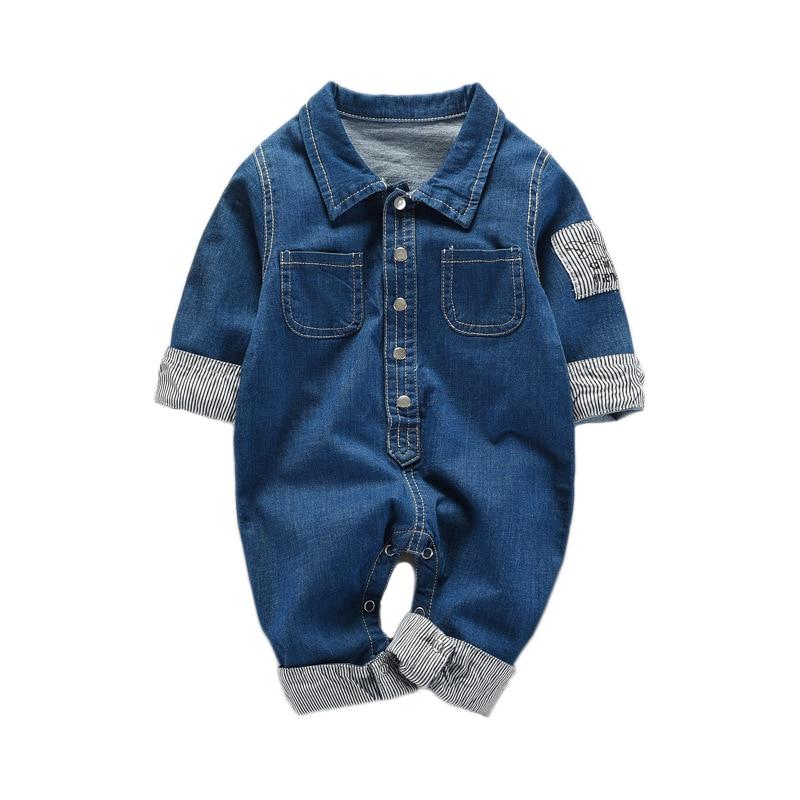 Baby onesies 2018 new baby denim jumpsuit newborn romper baby clothing sets high quality knot detail denim cami romper