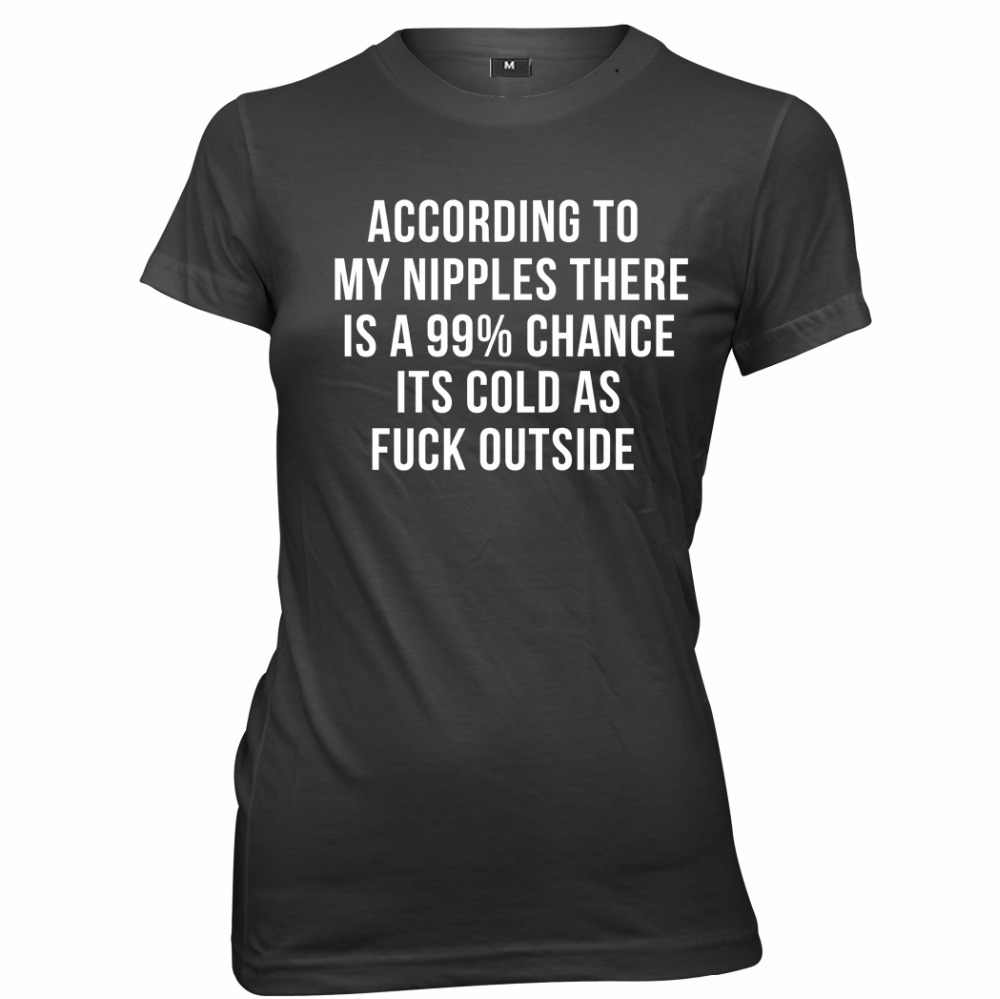 According To My Nipples There Is A 99% Chance Cold Womens T-Shirt