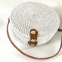Rattan Bags White Color Straw Round Handbags for Women 2018 Bohemian Beach Shoulder Bags