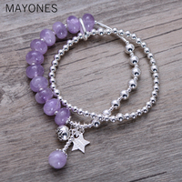 MAYONES 925 sterling silver jewelry retro handmade original synthetic purple lithium glow female bracelet