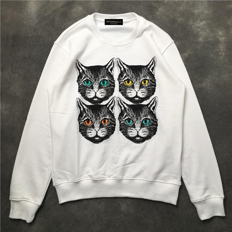 Fashion women/men casual loose pullovers hoody Tops New 2018 autumn cute cat print sweatshirt Tops D188 - 3