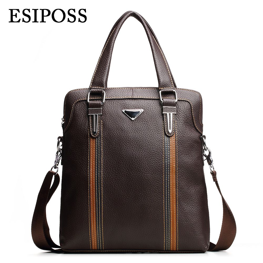 ФОТО ESIPOSS Famous Brand Men Handbags 100% Cowhide Leather Men's Business Bag Mele Designer Leather Crossbody Shoulder Bags for Ipad
