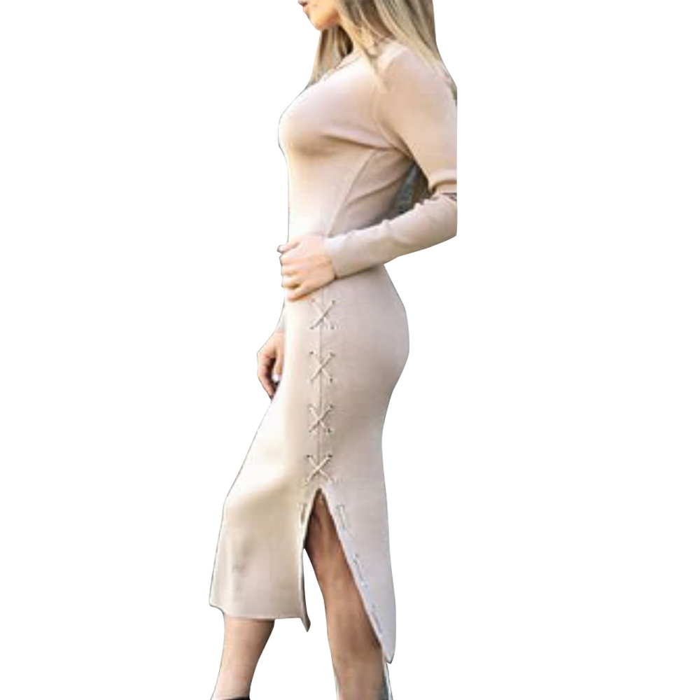 Lace Up Dress One Side Spit Women Winter Dress Long Sleeve Knit Bodycon Sexy Dress  Party 2018 Knitted Dresses GV1041 drawstring side heathered knit dress