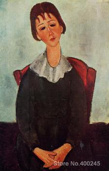 Woman Paintings by Amedeo Modigliani Girl on a Chair (aka Mademoiselle Huguette) Bedroom decor High quality