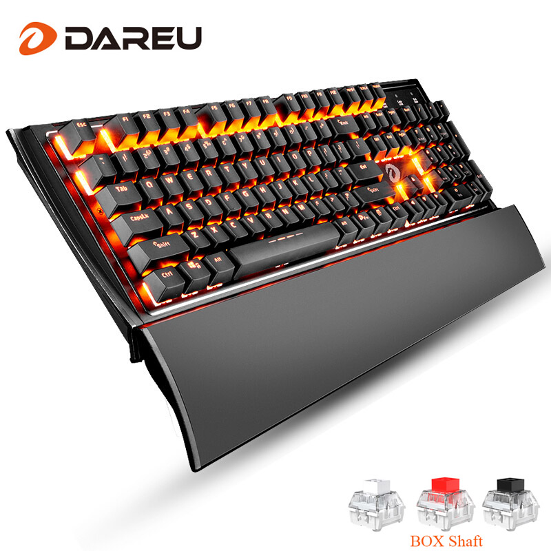 цена на Dareu EK835 Gaming Mechanical Keyboard 104 Keys USB Wired Metal Panel Orange light LED Backlight Game Key Board For LOL Computer