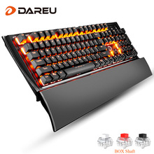 Dareu EK835 Gaming Mechanical Keyboard 104 Keys USB Wired Metal Panel Orange light LED Backlight Game Key Board For LOL Computer