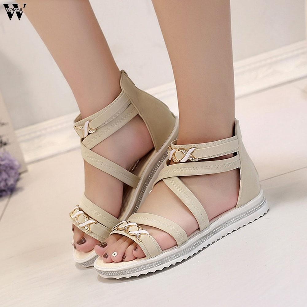 Women Flat Sandals 2019 Fashion Women Summer Shoes Genuine leather Sandals Ladies Shoes big size  Jan14 knitting