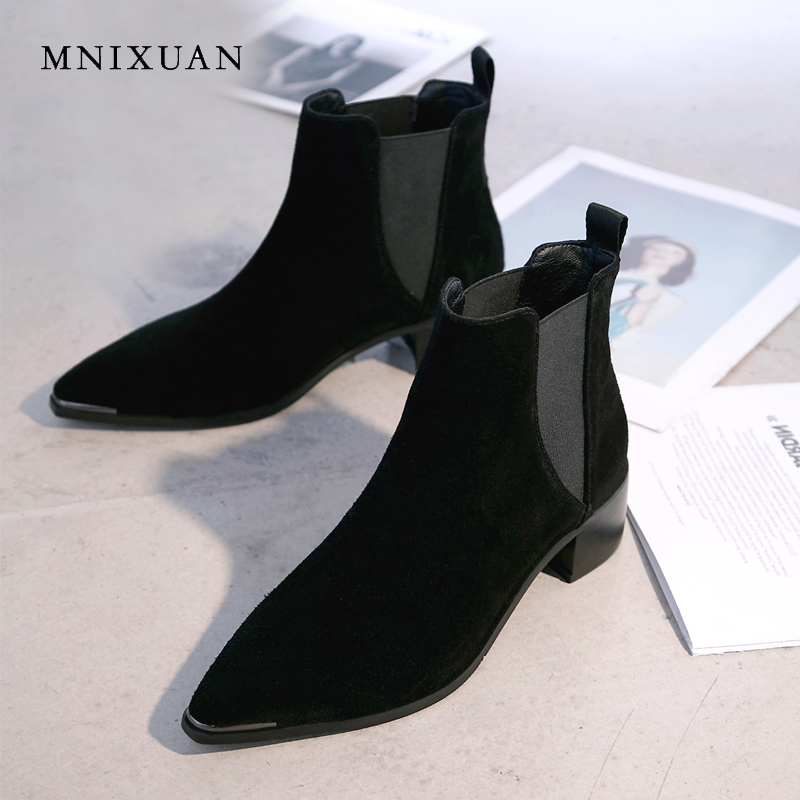 MNIXUAN handmade chelsea boots women shoes genuine leather 2018 new rome pointed toe medium heels ankle boots ladies short boots цены онлайн