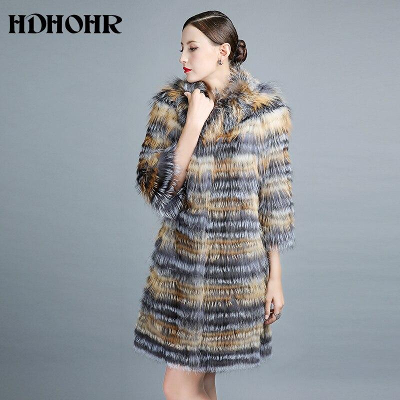 HDHOHR 2019 100% skutečný stříbrný kožich Fox, zimní ležérní kožich Fox, skutečný Fox, dámská bunda s dlouhým svrchním oblečením