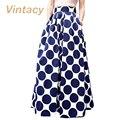 Vintacy плюс размер женщины синий юбки бальное платье мода длинные юбки женщин Горошек весна лето юбки офис повседневная
