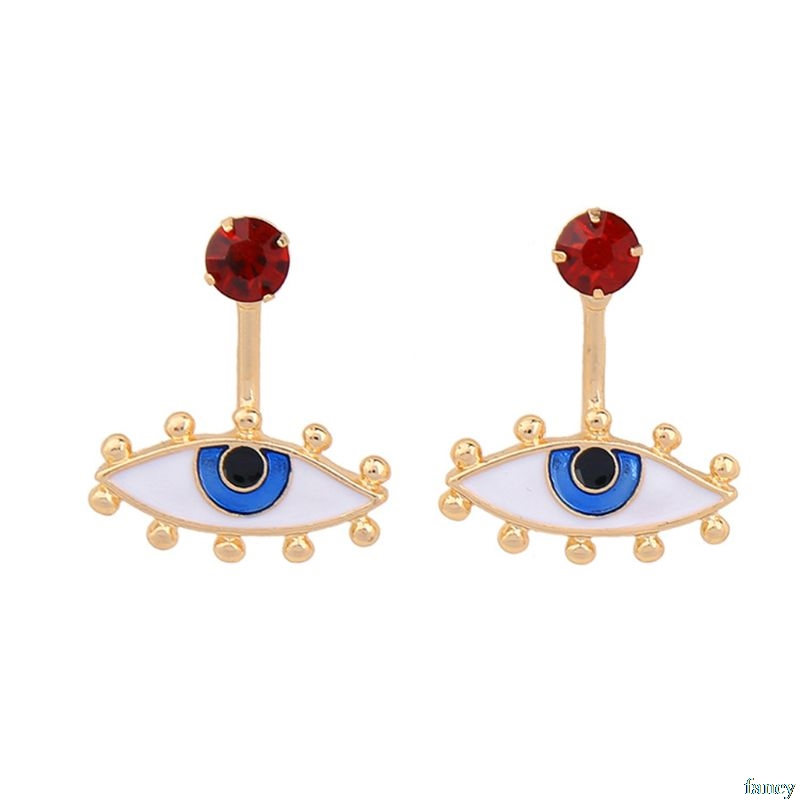 Jewelry & Accessories 1 Pair Cute Enamel Eyes Blue Evil Eye Stud Earrings For Women Fashion Jewelry In Short Supply