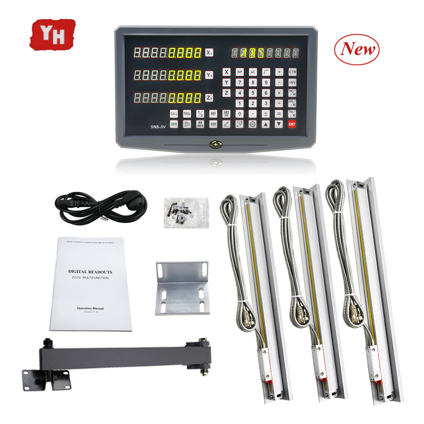 Milling Lathe machines tool complete dro kit digital readout display SNS 3V with 3 pcs 5u linear scales/encoder/sensor 2 to 40