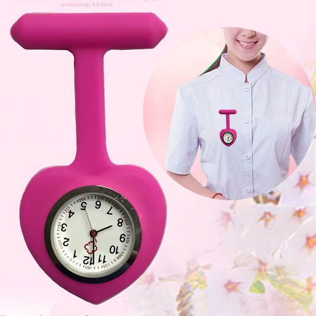 Silicone Heart Shape portable Fob Watch Pocket Brooch Clip Clock Watch Medical Q