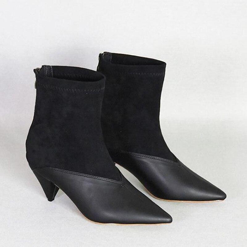 2019 nouvelles bottines à coutures pointues coniques avec des bottes en tissu élastique femmes bottines à talons hauts chaussures pour femmes bottes boty - 3
