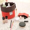Bolsa de cosmético para viagem com formato de barril, bolsas de lavar tambor elegante fechamento com cordão para puxar alta capacidade de nylon, bolsa para armazenamento e organização de maquiagem