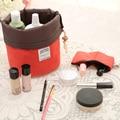 Nueva llegada en forma de barril cosmético de viaje bolsa de Nylon alta capacidad con cordón elegante tambor bolsas de maquillaje organizador de almacenamiento
