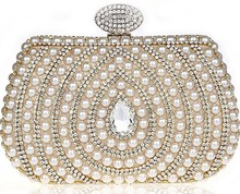 2016 Good Quality Rhinestone Pearl Clutch Bags ,Women's Swirl Diamond Evening Bags Single Shoulder Bags Gold/Black/Silver 0991