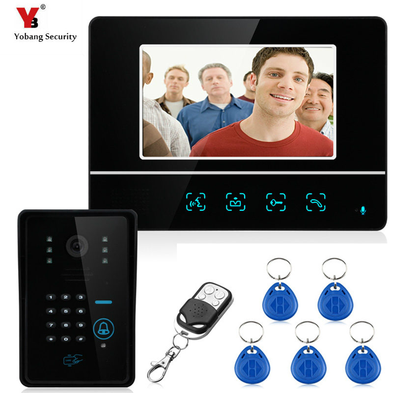 Yobang Security Video Door Phone System 7'' Clear LCD Monitor Wired Video Intercom Doorbell Kits Night Vision Camera