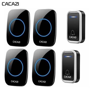 CACAZI étanche maison sans fil sonnette Smart batterie pour lumière LED appelant porte cloche à distance 300 M EU prise 38 carillon 3 Volume
