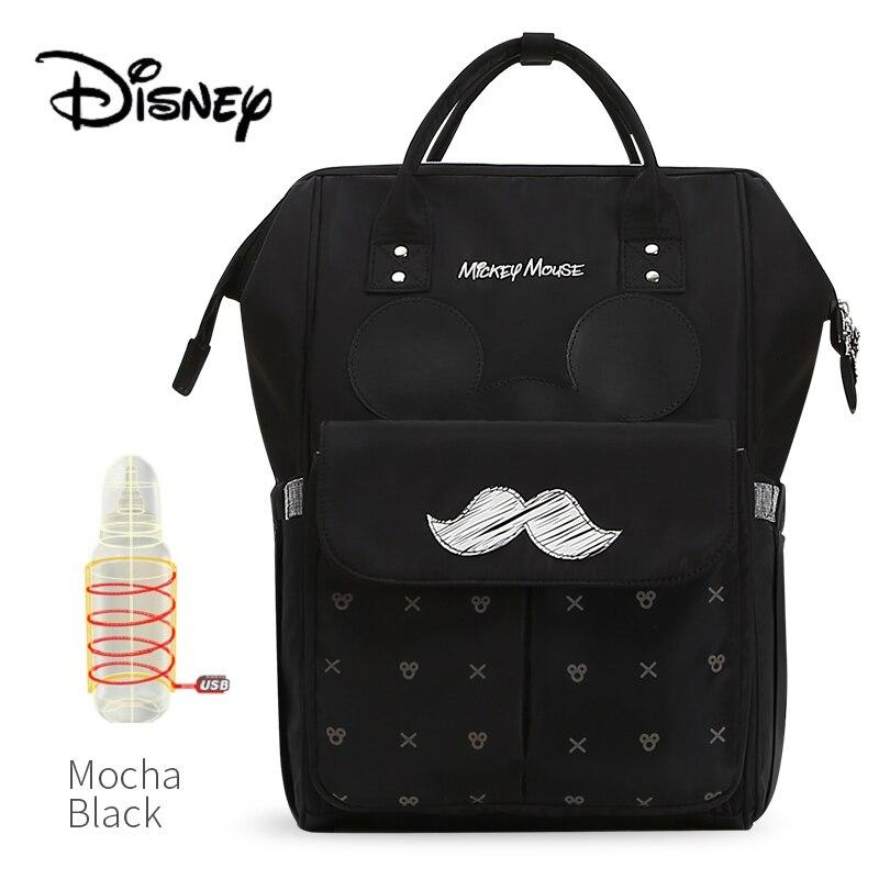 Disney USB Bottle Feeding Travel Backpack Baby Bags For Mom Storage Bag Mummy Bags Mocha Cute