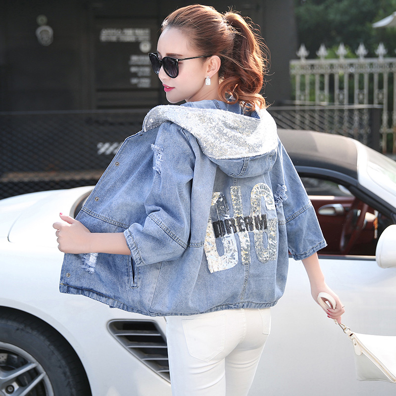 Hooded Denim   Jackets   Coat Spring Autumn Women Three Quqrter Sleeve Kawaii Light Blue Short Jeans Embroidery Letter   Basic     Jacket