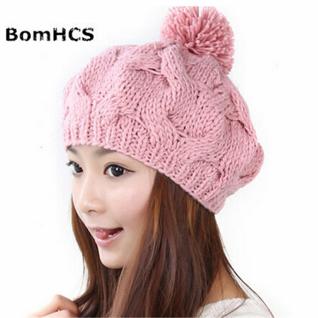 Bomhcs Winter Warm Knitted Hat Women Lady Fashion Twisted Flowers