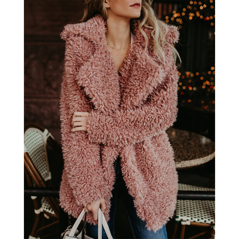 Elegant Faux Fur Coat Women 2019 Autumn Winter Warm Soft Fur Jacket Female Plush Overcoat Casual Teddy Outwear women coat in Faux Fur from Women 39 s Clothing