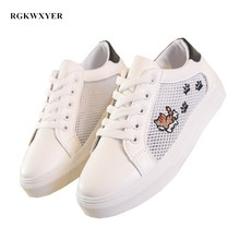 RGKWXYER New Wild Flat Shoes Fashion Women Mesh Breathable Small White Motion Sneakers Comfortable Boards