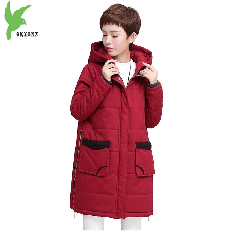 Plus size 5XL Women Winter Cotton Jacket Coats Boutique Thick Warm Parkas Hooded Cotton Jackets Medium length Coats OKXGNZ A1132