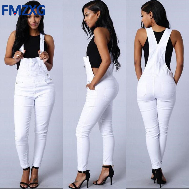 Women Olive Green Denim Overalls 2018 Spring Autumn Strap Ripped Pocket Full Length Denim Jumpsuit White Workwear Jeans Jumpsuit sexy sports bra and leggings