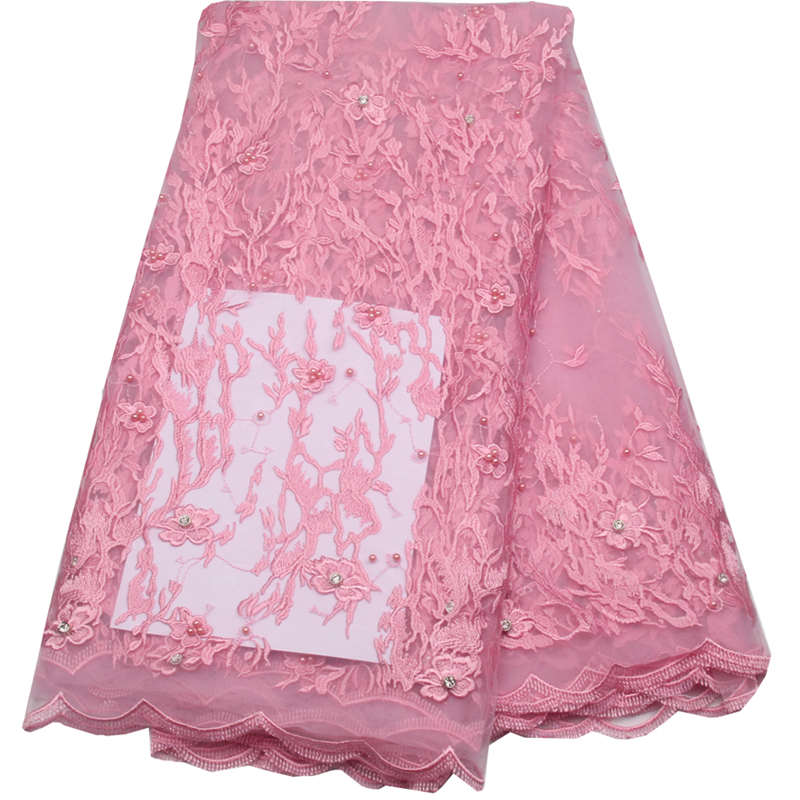 Wholesale cheap pink african tulle lace fabric with for French lace fabric for wedding dresses