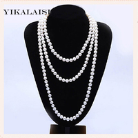 YIKALAISI 2017 NEW long natural pearl necklace 100% real freshwater Nearround pearl jewelry 120/160/200cm For Women Best Gifts