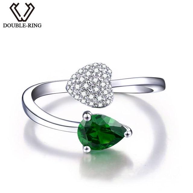 8f21afffb963 DOUBLE-R clásico creado verde esmeralda anillo fina boda joyería 925  joyería de plata esterlina