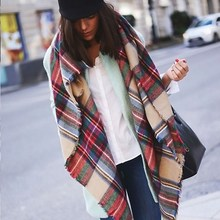 New Women Blanket Oversized Tartan Plaid Scarf Wrap Shawl Poncho Jacket Coat Stole L4