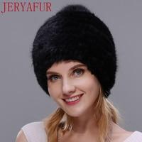 Winter woman hat snow hat mink fur handmade fox big hair ball Russian cap real fur one hood screw cap