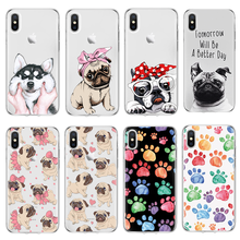 For iPhone X case For Soft iPhone 4 4S 5 5S 5C SE Fundas For iPhone 7 7Plus 8 8Plus 6 6S Plus For cute dog footprint TPU Cover(China)
