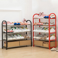 Multiple Layers Shoe Rack Plastic Parts Steel Pipe Shoes Shelf Easy Assembled Storage Organizer Stand Holder