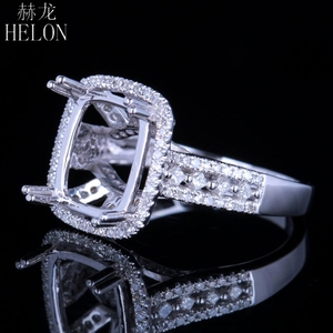 Image 2 - HELON Solid 14K White Gold 11X9MM Cushion/Emerald/Radiant Real Natural Diamonds Engagement Wedding Jewelry Semi Mount Ring