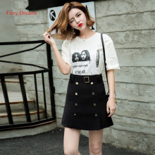 Fairy Dreams 2 Piece Set White T Shirt Women's Costume Tops And Black Mini Skirts 2017 Korean Style Summer Suits The Feminine