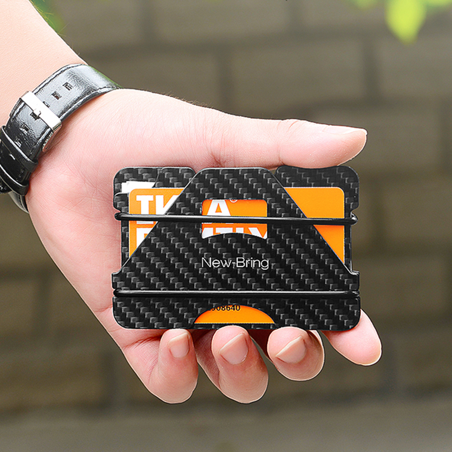 NewBring 100% Carbon Fiber Credit Card Driver License Holder Business Cards ID Wallet With RFID Blocking Anti-thief Wallet Men
