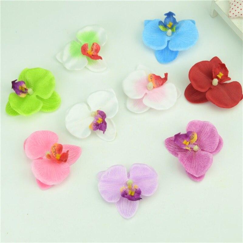10 unids 6.5 cm butterfly orquídea de seda artificial cabeza de la flor para la