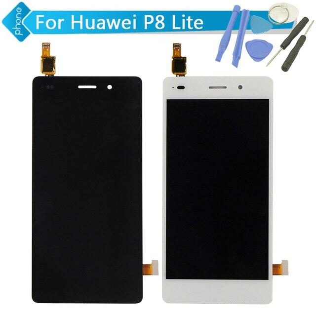 5 дюймов Для Huawei P8 Lite ЖК-Дисплей С Сенсорным Экраном Дигитайзер Ассамблеи, Черный/Белый Цвет + Инструменты