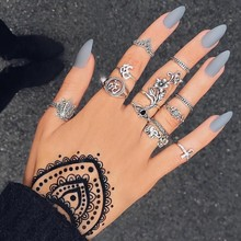Bohemian Silver 12 Pcs/set Women Rose Elephant Cross Crystal Lotus Yoga Joint Ring Set Party Birthday Jewelry Accessories