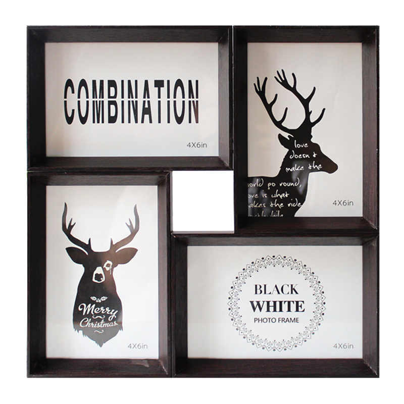 Solid Wood Glass Photo Frame Creative 4 Pictures Frames Splicing Wall Hanging Square Frame Desktop Decoration Frames Accessories