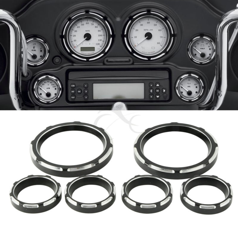 Motorcycle Instrument Cover Board 4 Speedometer 2 Gauge Burst Bezel Kit For Harley touring Road Glide