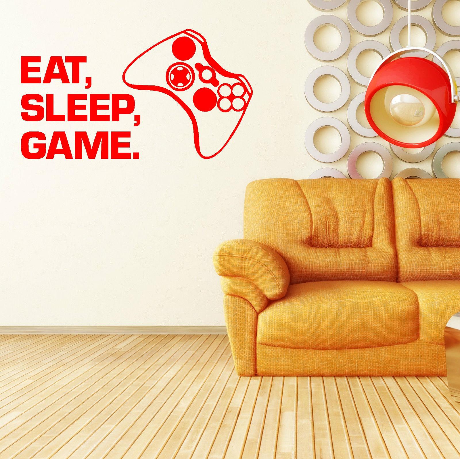 G101 BOX EAT SLEEP GAME vinyl wall art sticker decal childrens den ...