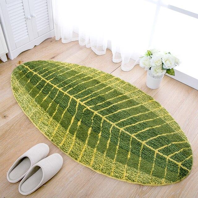 Mode vert feuille tapis de sol anti dérapant microfibre Absorption d ...
