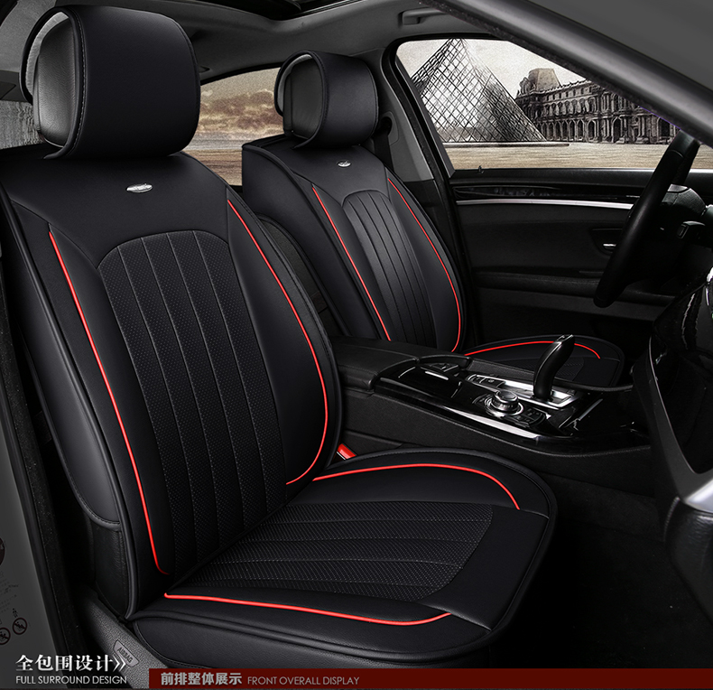 black beige red brand small hole ventilate wear resistance pu leather Front&Rear full set Universal car seat covers four seasons