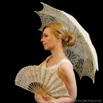 Noble Elegant Palace Style Long Arm Wedding Bridal Handmade Mariage Umbrella Embroidery Gingham Lace Parasol 48cm