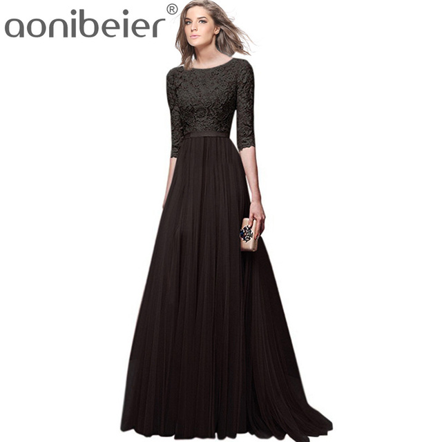 0423d82a9b7c Aonibeier Plus Size Jacquard Lace Top High Waist Maxi Dress 2018 Fashion  Swing Mesh Dress Women Fit and Flare Dress Party Dress